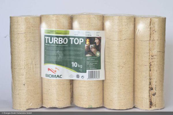 Premium-Holzbriketts rund, hell mit Loch, 100x10kg Palette